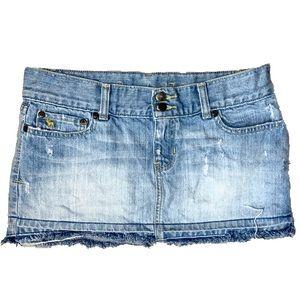 A&F Distressed Cut Off Mini Denim Skirt